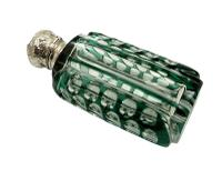 Antique Silver & Green Overlay Cut Glass Perfume / Scent Bottle c.1890 (3 of 8)