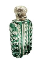 Antique Silver & Green Overlay Cut Glass Perfume / Scent Bottle c.1890 (4 of 8)
