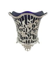 Antique Victorian Sterling Silver with Blue Glass Liner 1899 (8 of 12)
