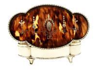 "Antique Edwardian Sterling Silver & Tortoiseshell 7"" Trinket Box 1910 (4 of 10)"
