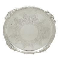 """Antique Victorian Sterling Silver 10"""" Tray / Salver 1890"""
