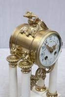 French Louis XVI Style White Marble Mantel Clock by Samuel Marti (3 of 7)