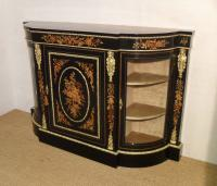 Victorian Ebonised & Marquetry Display Cabinet (2 of 8)