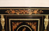 Victorian Ebonised & Marquetry Display Cabinet (6 of 8)