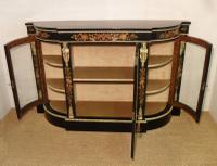 Victorian Ebonised & Marquetry Display Cabinet (8 of 8)
