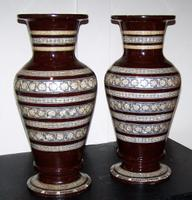 Pair of Vintage Wooden Arabic Vases circa Mid 20th Century