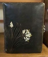 Large Leather Bound Photograph Album  + 38 Antique Photographs c.1900