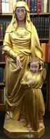 Huge Wooden Religious Sculpture Saint and  Child, RAre London Maker