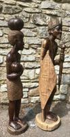 Large Pair of Hand Carved African Figures King & Queen Carvings