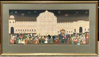 Large Framed Indian Painting On Silk C.1930
