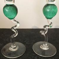 Pair of Vintage Green Glass Candlesticks (2 of 4)