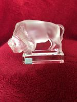 Lalique France 'Bison' Clear & Frosted Glass Paperweight with Original Label
