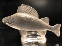 Lalique France 'Perch' Clear & Frosted Glass Figure of a Fish with Original Label