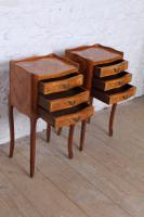 Very Pretty Pair of French Walnut Marquetry Bedsides (5 of 6)