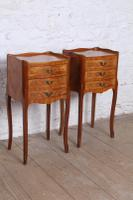 Very Pretty Pair of French Walnut Marquetry Bedsides (2 of 6)
