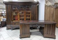 Massive Carved Bookcase with Desk