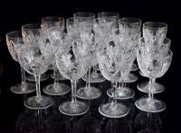 Part Suite 20 Outstanding Edwardian Port & Sherry Glasses 48 Pt Cut Foot