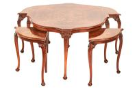 Fine Burr Walnut Nest of 4 Tables c.1930 (3 of 6)