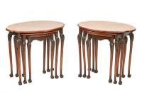 Pair of Burr Walnut Oval Nest 3 Tables c.1930 (5 of 5)