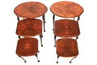 Pair of Burr Walnut Oval Nest 3 Tables c.1930 (2 of 5)