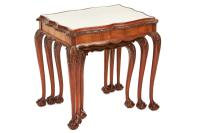 Burr Walnut & Carved Nest 3 Tables circa 1930s (6 of 6)