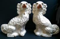 Large Pair of Antique Staffordshire Spaniel Dogs c.1860