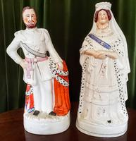 Staffordshire Portrait Pair of Queen Victoria & the Prince of Wales c.1880