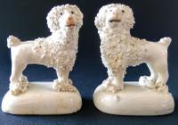 Pair of Miniature Staffordshire Poodle Figures c.1845