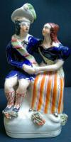 Staffordshire Portrait Figure Group of Robert Burns & Agnes Fleming c.1855