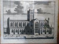 1724 Kip Large Folio Antique Print of Bath Cathedral, Somerset