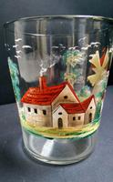 Large Painted Glass Tumbler c.1850 (4 of 5)