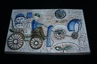 Charming Danish Pottery Wall Plaque by Soholm C.1960
