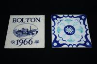 Vintage Pair of Pilkington Ceramic Tiles, one in the form of a Trivet, the other celebrating a commemorative event in Bolton
