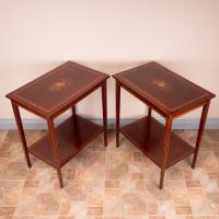 Pair of Inlaid Mahogany Occasional Tables