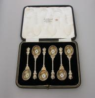 Set of 6 Victorian Silver Gilt & Multi Coloured Enamel Teaspoons, makers marks are unclear, but are probably those of Elkington & Co, Birmingham, 1890