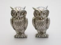 Pair of George VI Cast Novelty Silver Owl Peppers Francis Higgins, London 1938