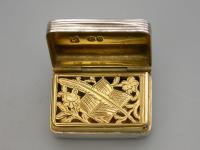 George IV Silver Vinaigrette 'Quill Pen & Book Grille' William Edwards, London 1823
