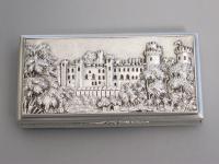 Victorian Silver Castle-Top Snuff Box - Warwick Castle, by Nathaniel Mills, Birmingham, 1838