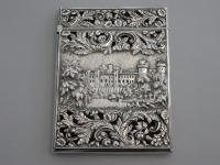 """Victorian Silver Double-Sided """"Castle-Top"""" Card Case Kenilworth Castle Ruins & Warwick Castle, by Nathaniel Mills, Birmingham, 1838"""