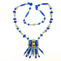 Art Deco Chrome & Faux Lapis Necklace ~ Neiger Brothers Egyptian Revival