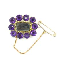 Antique Gold Amethyst Georgian Mourning Brooch ~ Momento Mori Hair Jewellery