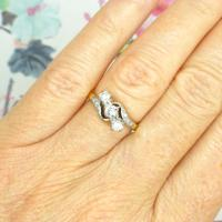 Vintage 18ct Three Stone Diamond Engagement Ring 1930s-1950s ~ Trilogy Bypass Ring
