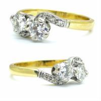 Vintage Art Deco 18ct Two Stone Diamond Moi Et Toi Engagement Ring c.1930 (3 of 9)
