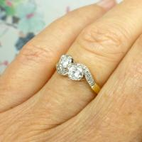 Vintage Art Deco 18ct Two Stone Diamond Moi Et Toi Engagement Ring c.1930 (5 of 9)