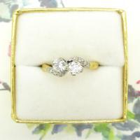 Vintage Art Deco 18ct Two Stone Diamond Moi Et Toi Engagement Ring c.1930 (9 of 9)