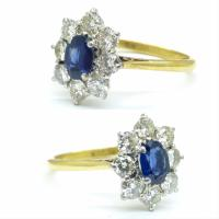 Vintage 18ct Sapphire & Diamond Oval Cluster Engagement Ring ~ with Independent Valuation (2 of 10)