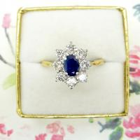 Vintage 18ct Sapphire & Diamond Oval Cluster Engagement Ring ~ with Independent Valuation (3 of 10)