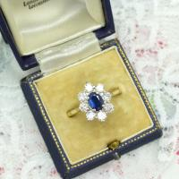 Vintage 18ct Sapphire & Diamond Oval Cluster Engagement Ring ~ with Independent Valuation (4 of 10)