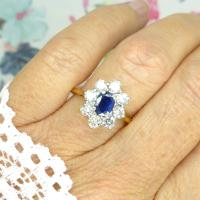 Vintage 18ct Sapphire & Diamond Oval Cluster Engagement Ring ~ with Independent Valuation (5 of 10)