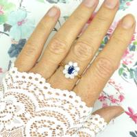 Vintage 18ct Sapphire & Diamond Oval Cluster Engagement Ring ~ with Independent Valuation (7 of 10)